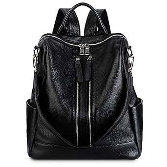 YALUXE Women's Convertible Real Leather Backpack Versatile Shoulder Bag (Upgraded 3.0) Black