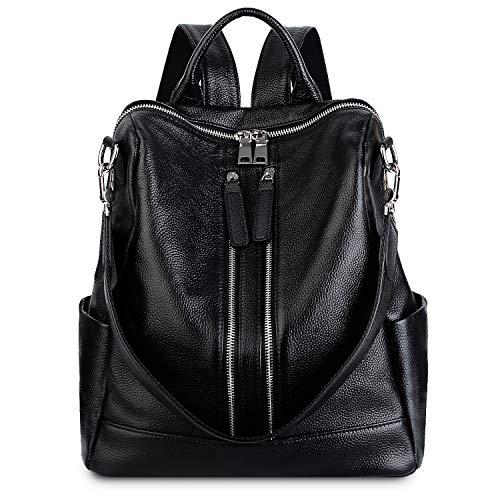 YALUXE Women's Backpack Convertible Real Leather Versatile Shoulder Bag Black (Leather Backpack Black Handbags)