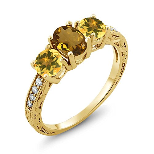 Ct Oval Whiskey Quartz Yellow Citrine 18K Yellow Gold Plated Silver Ring ()