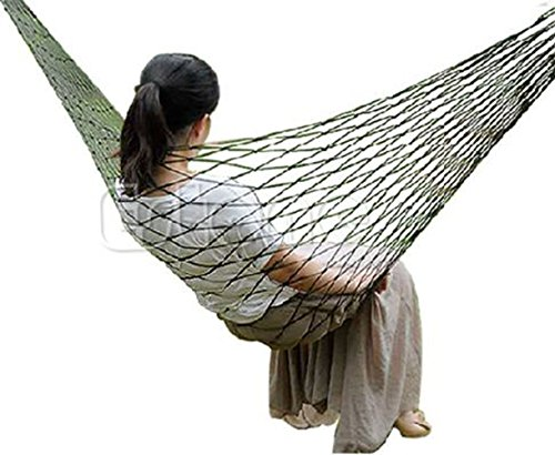 Hammock Multi Colored (Biullply Hammock-Outdoor Nylon Portable Sleeping Net Bed Multicolored Hammock (Without Stand) (Nylon, Red))
