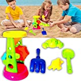 Sand Toy Set - Double Sand Wheel, Shovel, Rake, and Sea Critter Molds, 5 Piece Colorful Compact Kit