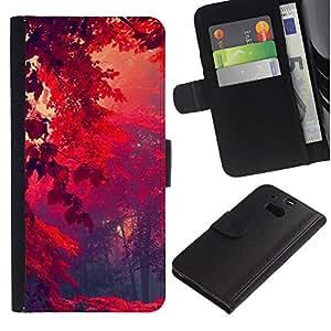 LECELL--Cuero de la tarjeta la carpeta del tirón Smartphone Slots Protección Holder For HTC One M8 -- Red Forrest --