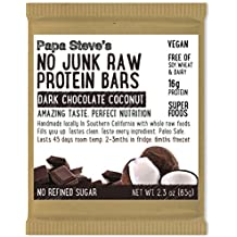 Papa Steve's No Junk Raw Protein Bars, Dark Chocolate Coconut, 2.3 Oz, 10 Count