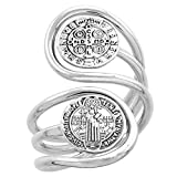 Sterling Silver St Benedict Ring for Women Wire