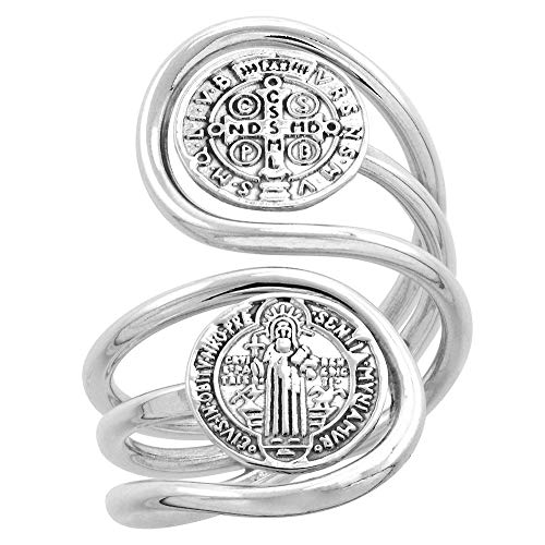 (Sterling Silver St Benedict Ring for Women Wire Wrapped 2 Medals Bypass Handmade 1 1/4 inch long, size 6.5)