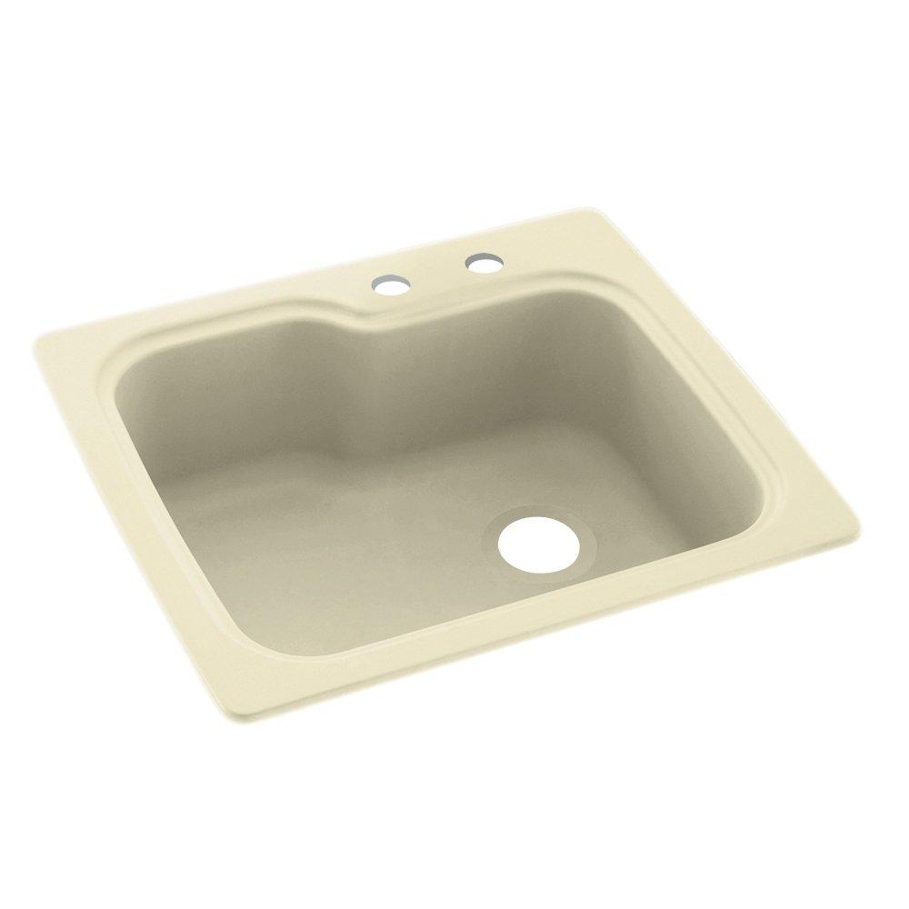 "Swanstone KS02522SB.037-2C 2-Hole Solid Surface Kitchen Sink, 25"" x 22"", Bone"