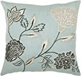 Rizzy Home T-3778 Decorative Pillows, 18 by 18-Inch, Aqua/Gray