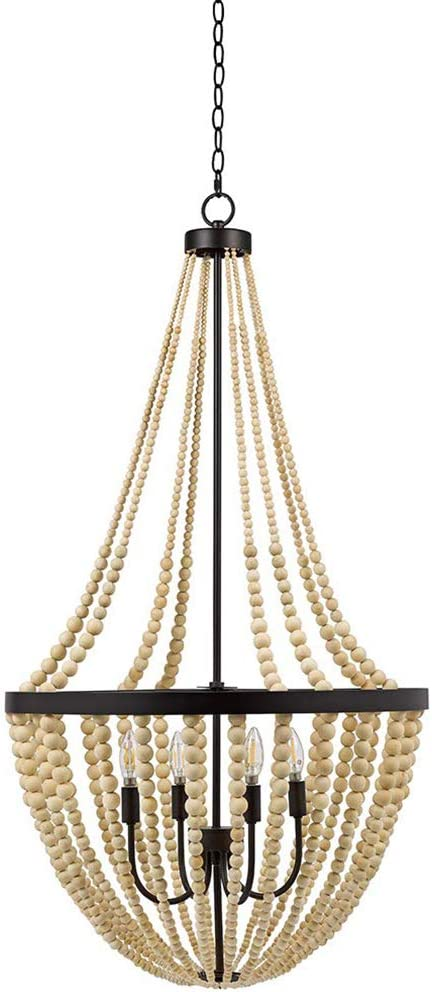 Stone Beam Modern Farmhouse Wood Bead Chandelier Ceiling Fixture With 4 LED Light Bulbs – 24 x 24 x 45.5 Inches, Natural