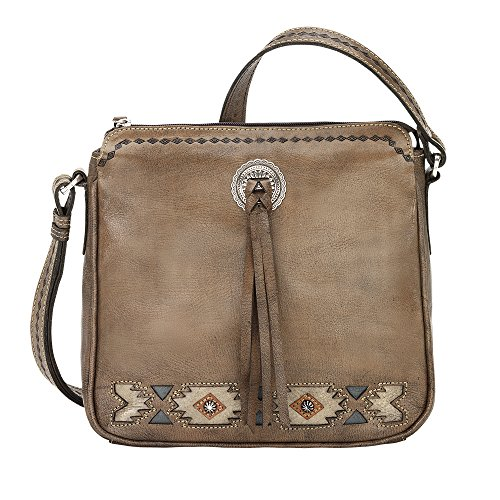 American West Native Sun Crossbody, Distressed Charcoal Brown by American West