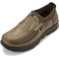 Gracosy Slip-On Shoes, Men Hand Stitching Microfiber Leather Non-Slip Casual Shoes Walking Loafer
