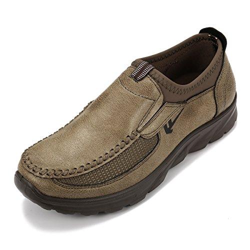 Gracosy Slip-on Schoenen, Mannen De Hand Stiksels Microfiber Leer Anti-slip Casual Schoenen Lopen Loafer Kameel