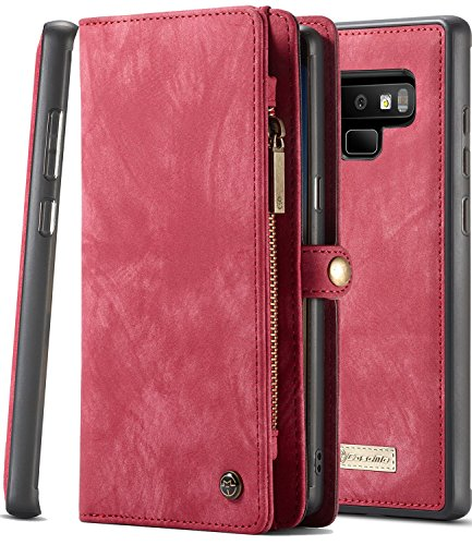 Galaxy Note 9 Wallet Case, Note 9 Magnetic Detachable Slim Cover, XRPow Vegan Leather Folio Wallet Removable Back Cover Card Slots Holder Shock Protection Zipper Wallet Case for Samusng Note 9 RED