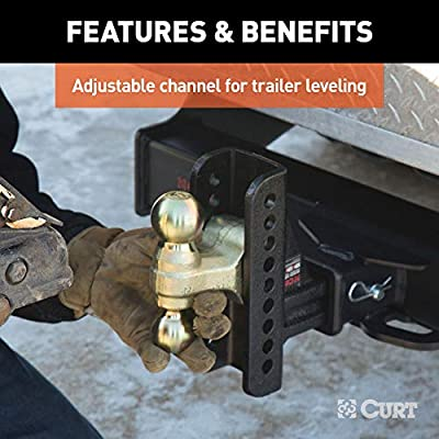 CURT 45902 Adjustable Trailer Hitch Ball Mount, Fits 2-1/2-Inch Receiver, 6-Inch Drop, 5-1/4-Inch Rise, 2-Inch and 2-5/16-Inch Hitch Balls, 10,000 or 20,000 lbs. GTW,Black: Automotive