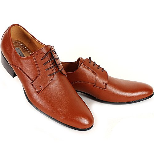 Comfort Lace Oxfords Dress Leather New up Formal Brown Shoes Mens Casual 6qcwdF