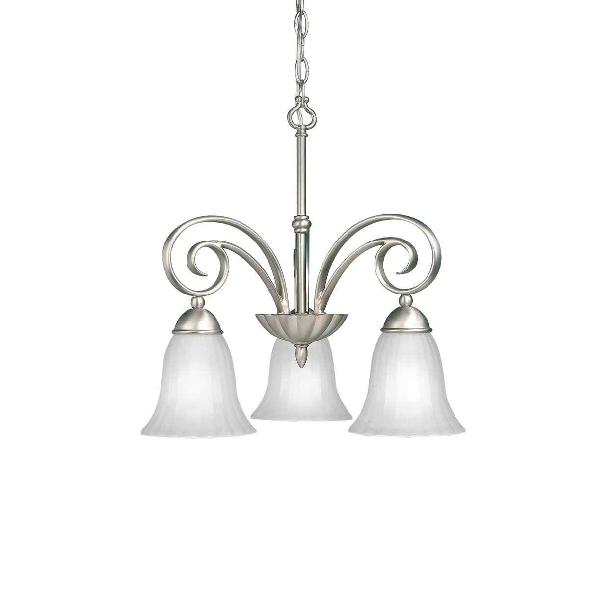 "Kichler 3326NI Kitchen Nook Chandelier Lighting, Brushed Nickel 3-Light (19"" W x 19"" H) 300 Watts"