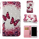 iPhone 6S Plus /6 Plus Case, PU Leather Wallet Case Durable Magnetic Case Cover Credit Card Holder Protective Book Case Xmas Halloween Birthday Gift for Apple iPhone 6S Plus /iPhone 6 Plus-Butterfly