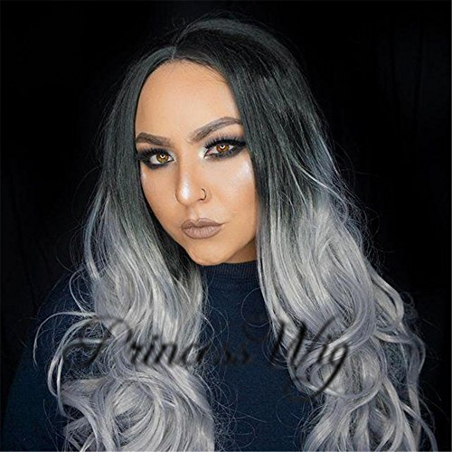 Princesswig Drag Queen Fashionable Body Wave Lace Front Wig Silver Ombre Sexy Style Long Hair Wig Extensions For Cosplay, Halloween Makeup ()