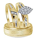 Silvostyles 14k Yellow Gold Fn 3/4 Ct 3-Piece Marquise Shape Engagement Trio Ring Wedding Set