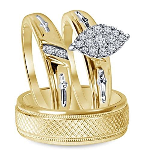 Silvostyles 14k Yellow Gold Fn 3/4 Ct 3-Piece Marquise Shape Engagement Trio Ring Wedding Set by Silvostyles