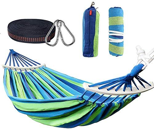 Rusee Double 2 Person Cotton Fabric Canvas Travel Hammocks 450lbs Ultralight Camping Hammock Portable Beach Swing Bed