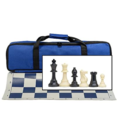 Tournament Chess Set with Electric Blue Bag - 3.75 in. King Solid Plastic