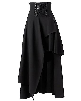 e5fc01e1b94 Femme Longue Volants Jupe Gothique Lolita Lacets Ourlet Asymétrique Jupes  Aspicture S