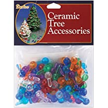 Darice 0.5-Inch Ceramic Christmas Tree Bulb, Medium, Multicolor, 100-Pack