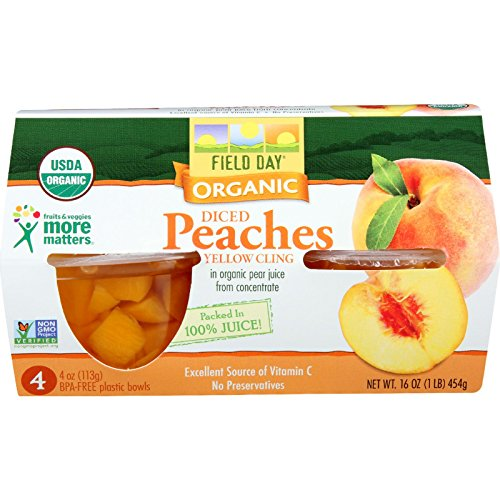 Field Day Peaches Organic Diced Cups 4 oz. 4-Count (Pack of 6)