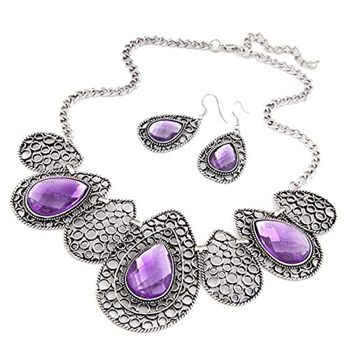 Vwhite Womens Luxury Drop Pattern Pendant Bib Necklace Hook Earring Jewelry Set Purple (Bib Drop Necklace)