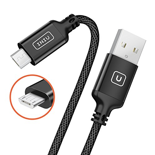 2 Pack INIU Micro USB Cable Android 2.4A Quick Charging Aluminium Alloy Nylon Braided 3.3ft Tangle-Free USB Data Charger Cable with Organizing Strap for Samsung HTC Motorola Mobile Phone Power Bank