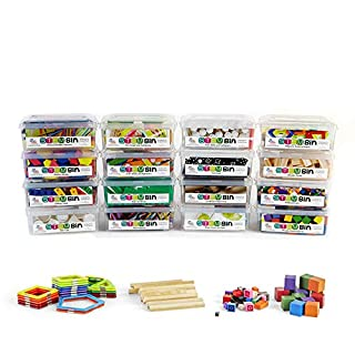 hand2mind STEM Bins Kit by Brooke Brown for Kids (Set of 16) - 23 Different Manipulatives, 8 Challenge Yourself Cards, 8 Writing Prompt Cards, and Teacher Guide