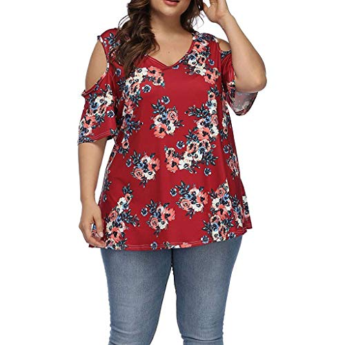 Mebamook Women's Short Sleeve and Long Sleeve Round Neck Triple Color Block Stripe Casual Blouse Short Sleeve Casual Cold Shoulder Red