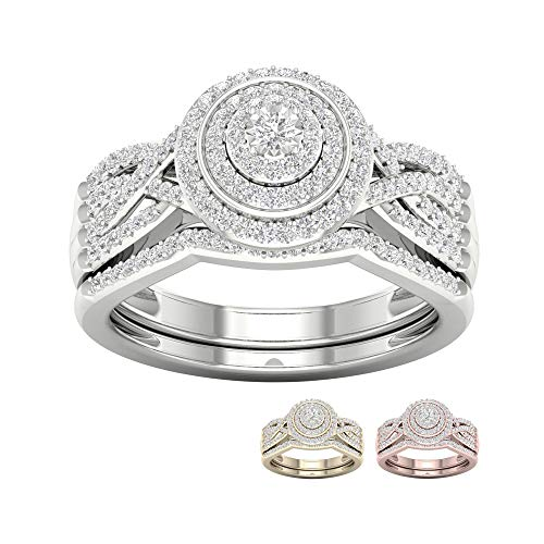 Tdw Prong Set - IGI Certified 10k Rose Gold 3/8 Ct TDW Diamond Halo Bridal Set (I-J, I2)