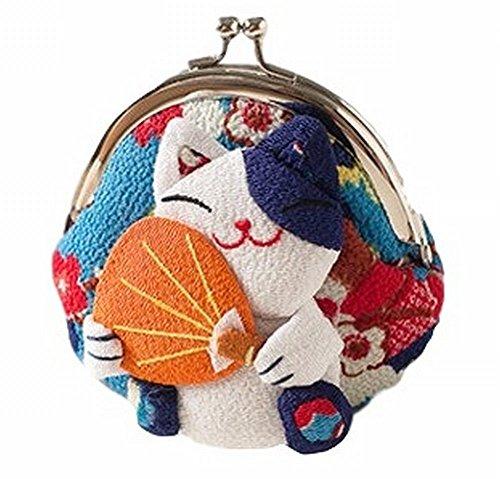 [POJ Japanese Style Coin Purse (Gamaguchi) [Green / Yellow / Pink / Blue ] Lucky Cat (Manekineko) Pattern Design Cosplay Goods] (Rogue Costume Uk)