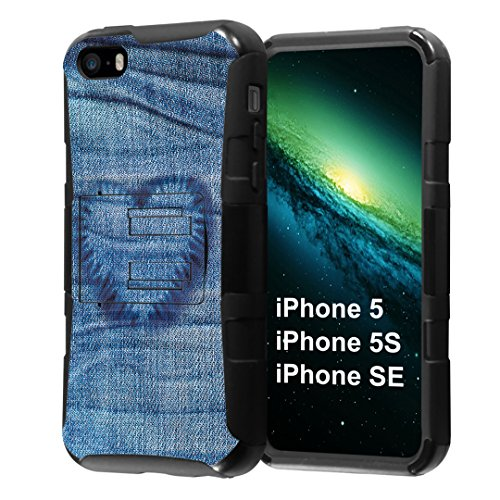iPhone SE Case, Capsule-Case Hybrid Dual Layer Combat Full Armor Style Kickstand Case with Holster Combo (Black) for iPhone SE/iPhone 5s / iPhone 5 - (Denim Heart)