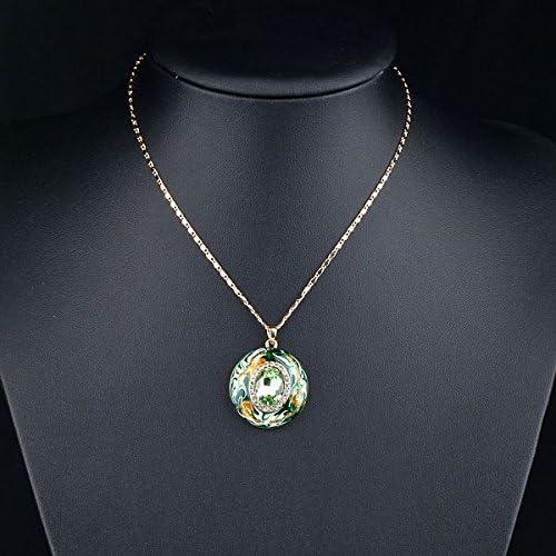 Jaune plaqué or dragon vert clair jade Round Circle Pendentif Chaîne Collier
