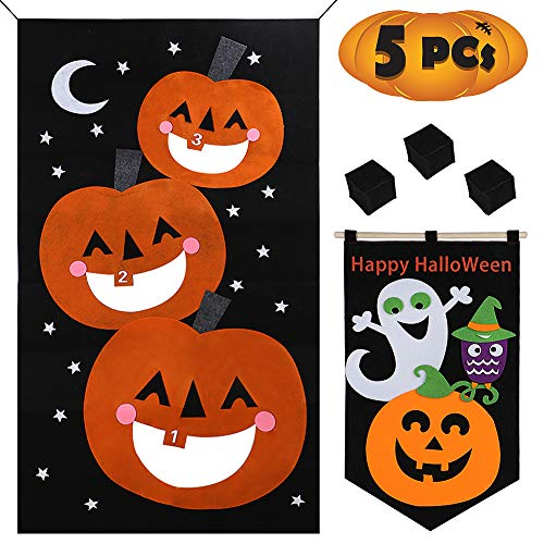 ANNTOY Halloween Bean Bag Toss Games with Halloween Decorations Door Banner Outdoor Games Yard Games for Kids Party ()