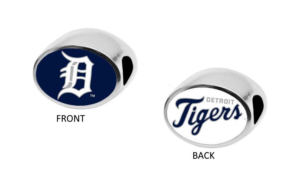 Detroit Tigers 2-Sided Bead Fits Most Bracelet Lines Including Pandora, Chamilia, Troll, Biagi, Zable, Kera, Personality, Reflections, Silverado and More Charm Bead Fits Pandora Style Bracelets