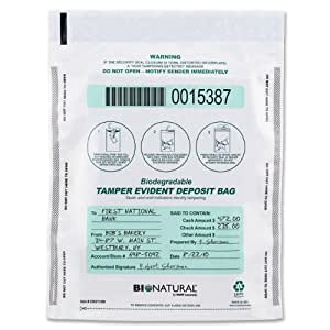 MMF Industries Bio-Natural Tamper-Evident Deposit Bags, 9 x 12 Inches, 100 Bags per Pack, Clear (236211320)