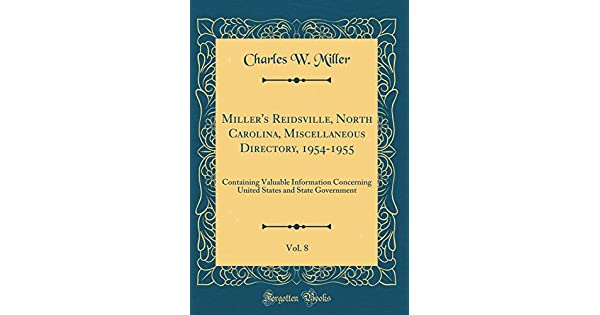 Miller's Reidsville, North Carolina, Miscellaneous Directory