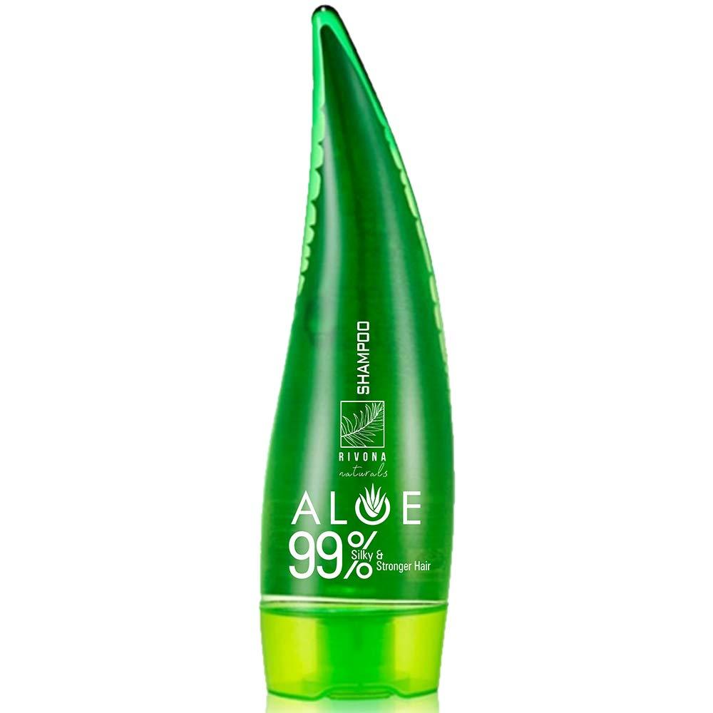 Rivona Naturals Aloevera Bamboo 99% Silky & Stronger Hair Shampoo, Paraben Free - 250 ML