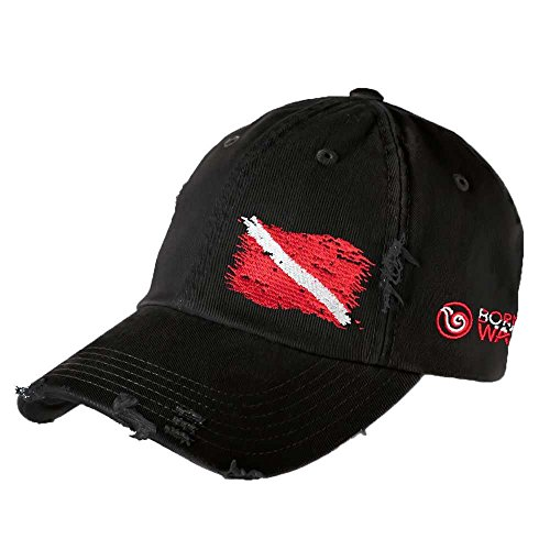 - Born of Water Scuba Diving Ripped Flag Distressed Hat: Freedive | Diver | Spearfishing Black