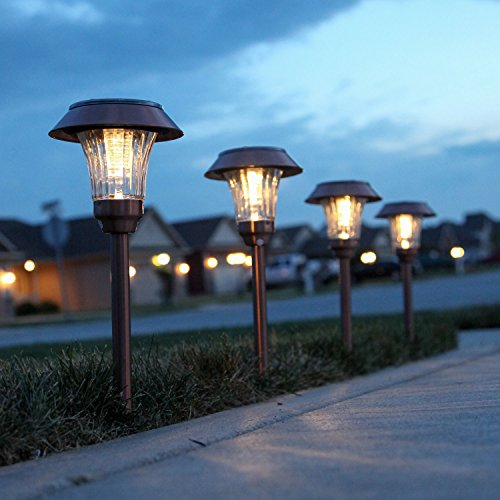 Bronze Metal Solar Path Lights, Set of 4, Warm White LEDs, Rechargeable, Waterproof (Stake Single Head)