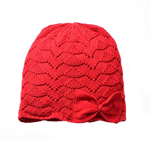 Toubaby Toddler Girl winnter Knitted Hat Bowknot Hollow out Baby Hat (0-12M, Red)