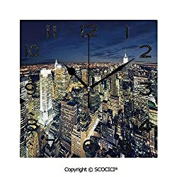 SCOCICI Print Square Wall Clock, 8 Inch Modern Cityscape After Sunset Manhattan New York USA Architectural View Quiet Desk Clock for Home,Office,School
