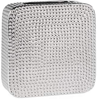 Torre Tagus Helio Hammered Ceramic Square Vase, Tall, Silver