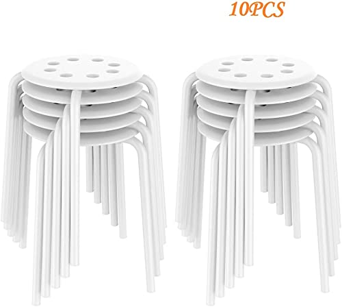 Yaheetech Portable Plastic Stack Bar Stools Flexible Backless Dining Chairs Stools Barstools, 17.3in Height White 10PCS
