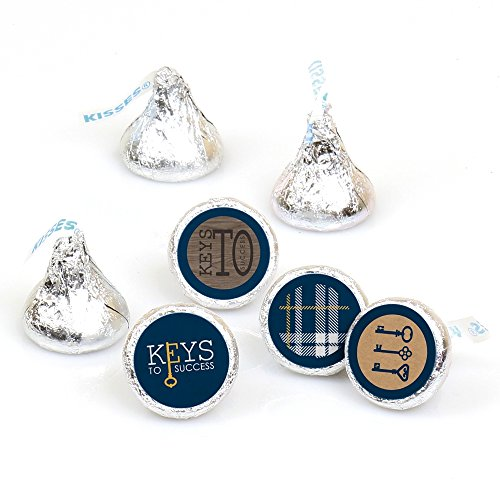 (Grad Keys to Success - Graduation Round Candy Sticker Favors - Labels Fit Hershey's Kisses (1 sheet of 108))