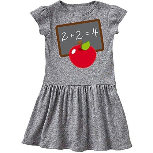 inktastic Chalkboard and Apple School Toddler Dress 5/6 Heather Grey