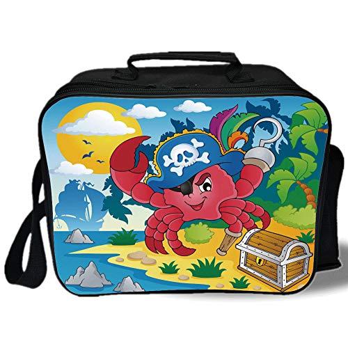 Leg Peg Fox (Insulated Lunch Bag,Pirate,Cute Cartoon Crab with Eye Patch Pirate Hat Hook Pegleg Deserted Island Coast Jungle Decorative,Multicolor,for Work/School/Picnic, Grey)
